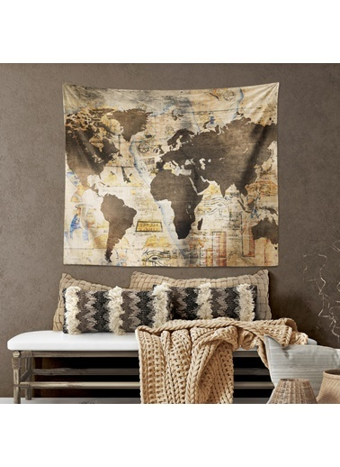 Eponj Home Tapestry Duvar Örtüsü 120x145 cm WordMap Kahve Kahve